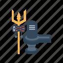 lingam, shiva, shivling, shravana, trident, trishula, weapon icon