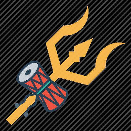 damru, drum, shiva, spear, trident, trishula, weapon icon