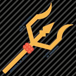 shiva, spear, spiritual, three, trident, trishula, weapon icon