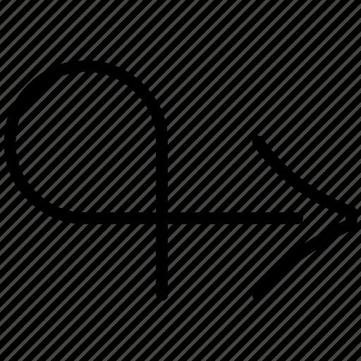 arrow, behaviour, maneuver, right, user maneuver icon