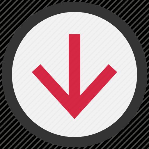 arrow, arrows, direction, down icon