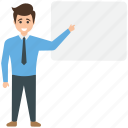 businessman with whiteboard, consultant, instructor, presentation icon
