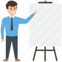 business presentation, businessman and artboard, canvas stand, consultant, meeting room icon