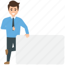 advertisement, businessman advertising, demonstrating, manager holding blank sign board, signboard copyspace icon