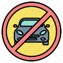 car, drive, driving, forbidden, prohibited, sign, zone icon
