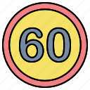 limit, sign, speed limit icon