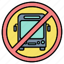 bus blocked, bus forbid, bus illegal, bus not allowed, bus prohibition, no bus, stop bus icon