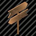 board, cartoon, direction, isometric, road, signboard, wood