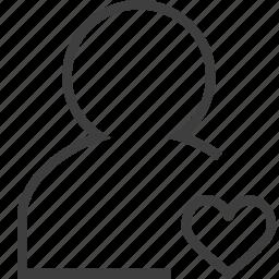 account, fav, favorite, female, human, like, love icon