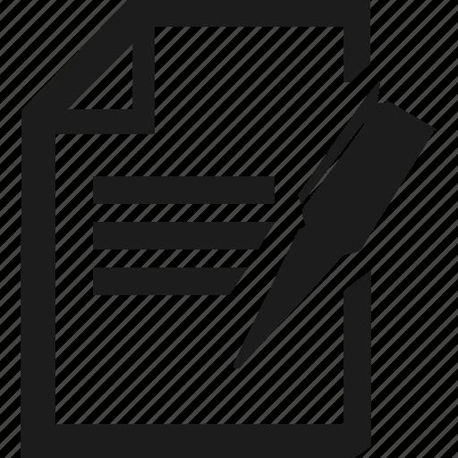document, edit, pen, text icon