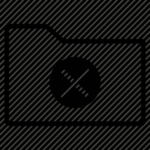cancel, close, delete, folder, line, remove icon