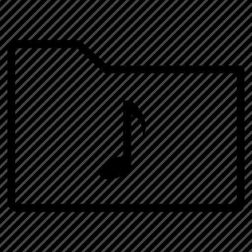 audio, folder, line, music, sound icon