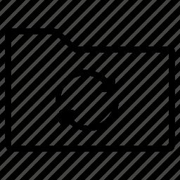 folder, line, sync icon