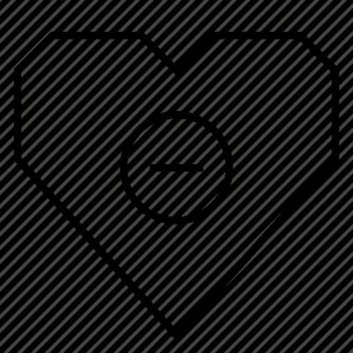 circle, delete, health, heart, hearts, minus, subtract icon