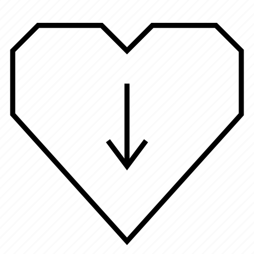 depression, down, down arrow, download, health, heart, hearts icon