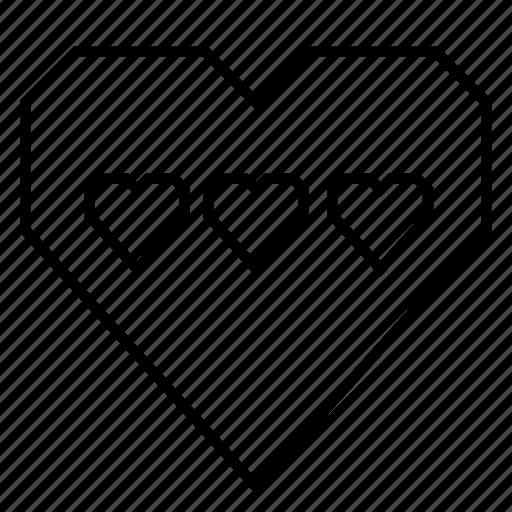 emotion, favorite, heart, hearts, love, triple hearts, valentine's day icon