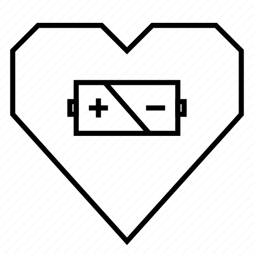 battery, charge, energy, heart, heart health, hearts, nutrition icon