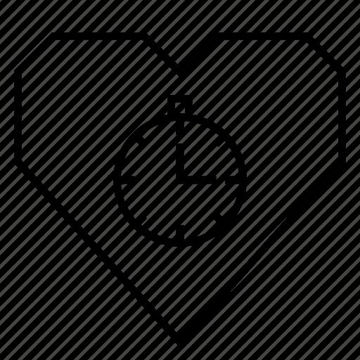 cardio, fitness, heart, heart health, hearts, medical, stopwatch icon