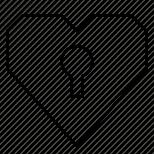 dating, heart, hearts, key hole, locked heart, medical, romance icon