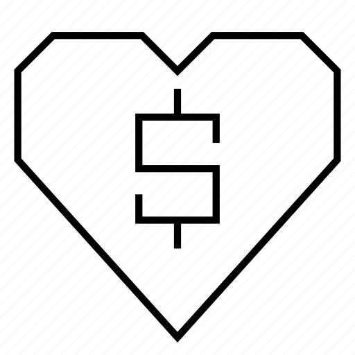 cash, dollar, dollar sign, financial, heart, hearts, money icon