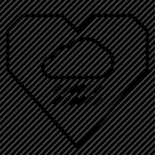 depression, heart, heartache, hearts, love, raincloud, sadness icon