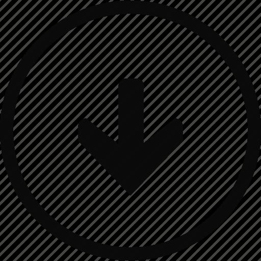 arrow, circle, down, interface icon