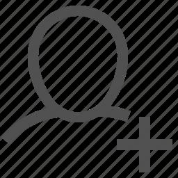 add, avatar, human, man, plus, profile, user icon