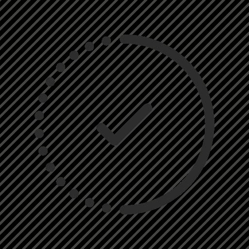 check, complete, loading, processing, progress, tick, wait icon