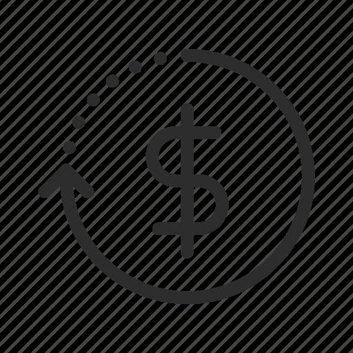 back, dollar, ecommerce, finance, guarantee, money, shopping icon