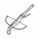 crossbow, horizontal bow, range weapons, shooting weapon, simple weapons, weapons, wooden crossbow icon