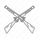 crossed musket, musket, range weapons, traditional firearm, weapons, gun, guns icon