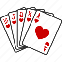 casino, flush, gambling, hearts, poker, royal, straight icon