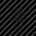 brain, bulb, idea, light, think