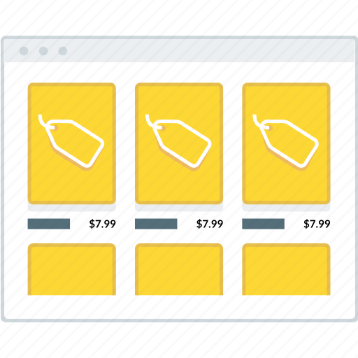 ecommerce, grid, layout, page, product, website, wireframe icon