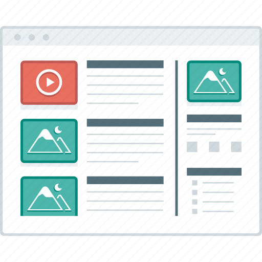 blog, layout, list, page, website, wireframe, workflow icon