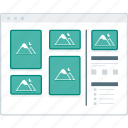 blog, layout, masonary, page, website, wireframe, workflow icon