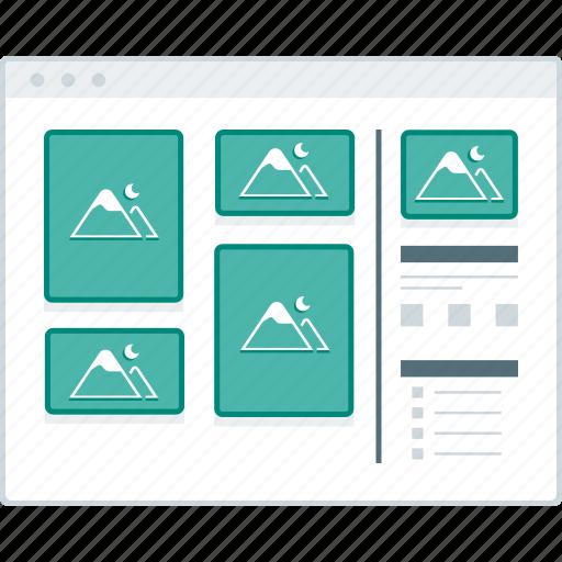 blog, layout, masonary, page, website, wireframe, workflow icon