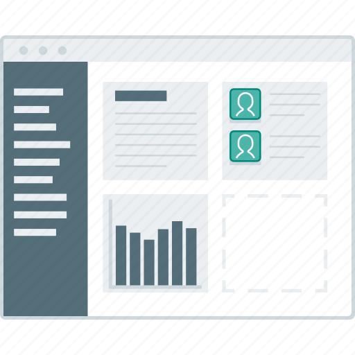 chart, dashboard, layout, page, website, widget, wireframe icon