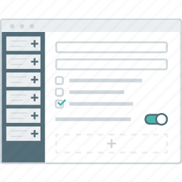 cms, form, layout, page, setting, website, wireframe icon