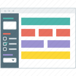 cms, form, layout, setting, website, wireframe, workflow icon