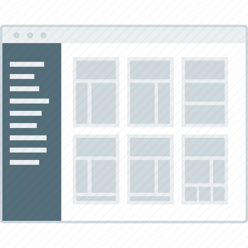 cms, layout, page, template, website, wireframe, workflow icon