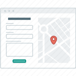 contact, form, layout, map, page, website, wireframe icon