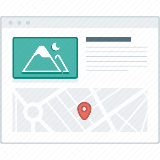 contact, layout, location, map, page, website, wireframe icon