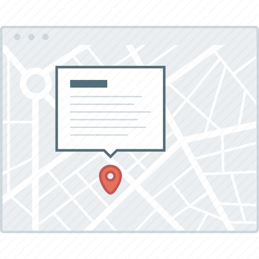 detail, layout, location, map, page, website, wireframe icon