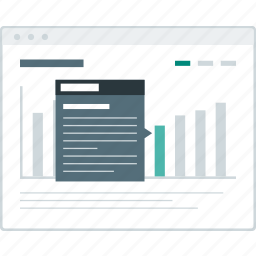 chart, dashboard, detail, layout, page, website, wireframe icon