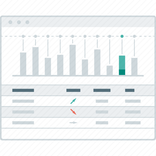chart, dashboard, layout, page, summary, website, wireframe icon