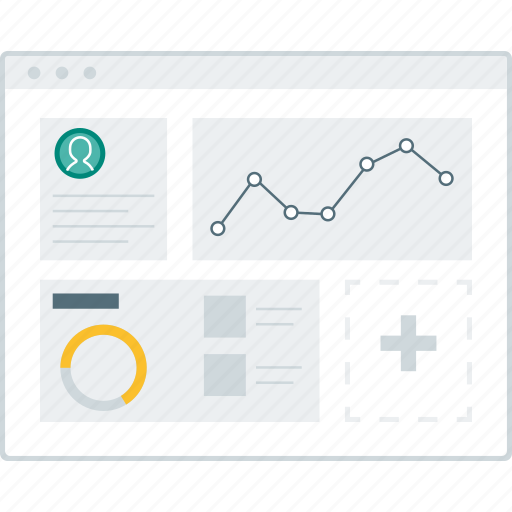 chart, dashboard, layout, page, website, widgets, wireframe icon