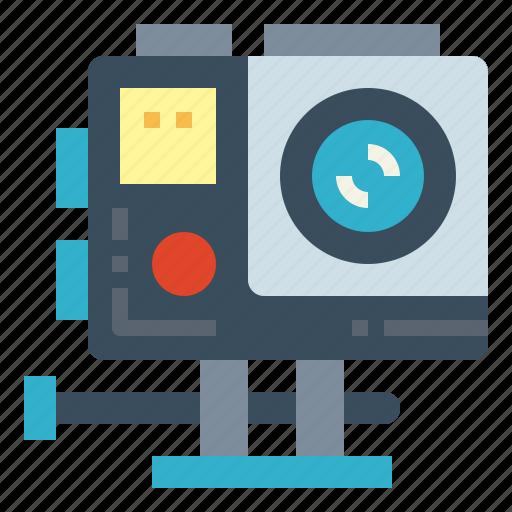 action, camera, gopro, technology icon