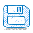 disk, floppy, sketch, sketchy, storage icon