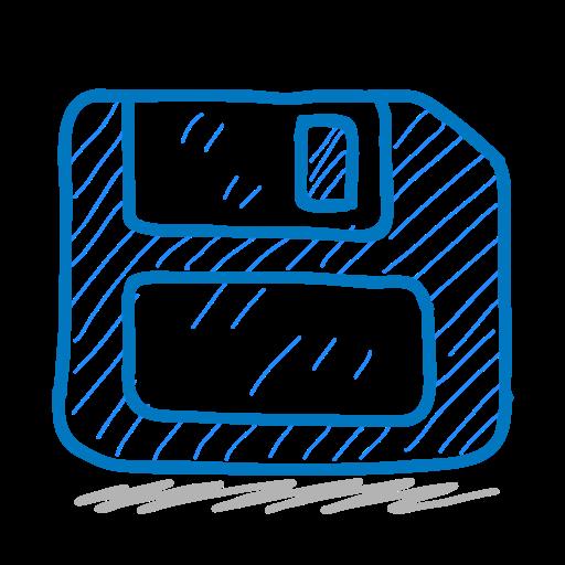 disk, floppy, sketch, sketchy, storage icon